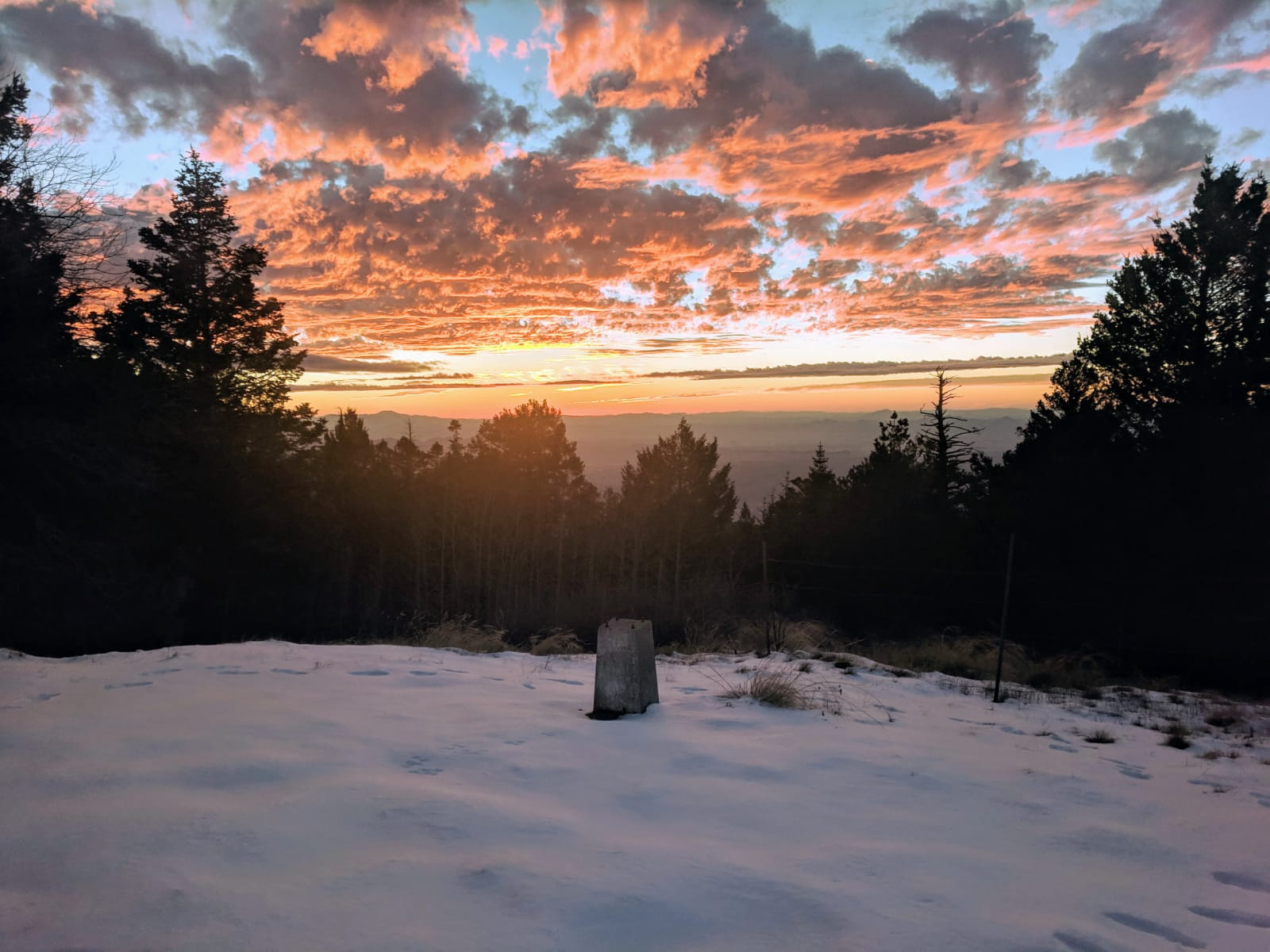 Winter sunset with clouds at Mt. Lemmon SkyCenter